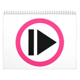 Música del botón de reproducción calendarios de pared