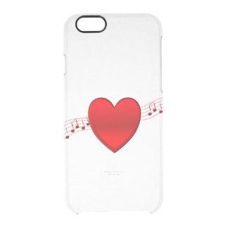 Música del corazón funda clear para iPhone 6/6S
