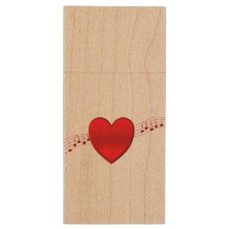 Música del corazón pen drive de madera USB 2.0