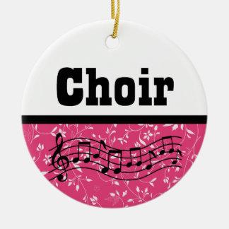 Música del coro adorno navideño redondo de cerámica