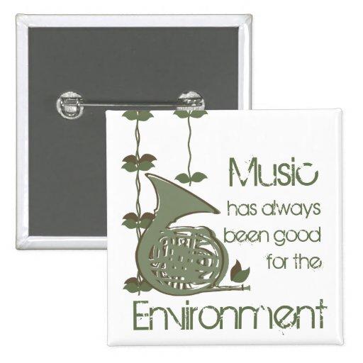 Música del encanto del arbolado pin cuadrada 5 cm