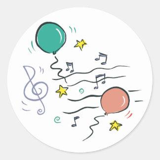 Música del fiesta pegatina redonda