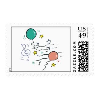 Música del fiesta timbre postal