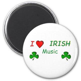 Música del irlandés del amor imán redondo 5 cm