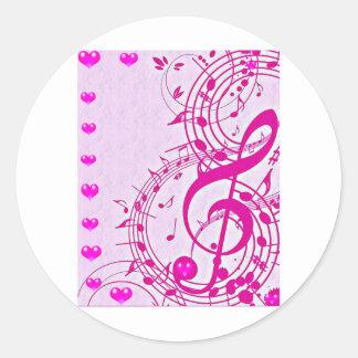 Música del love_ pegatina redonda
