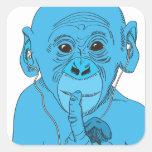 Música del mono calcomania cuadradas personalizadas