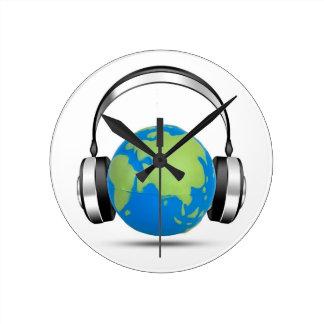 Música del mundo reloj redondo mediano