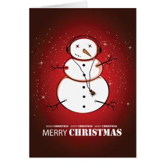 Música del muñeco de nieve de las Felices Navidad Tarjetón