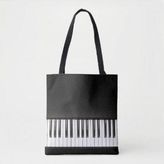 Música del piano blanco y negro bolsa de tela