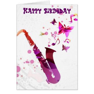 Música del saxofón y cumpleaños lindos de las tarjeta de felicitación