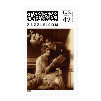 Música del vintage, amor y amantes románticos del sellos