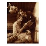 Música del vintage, amor y amantes románticos del postal