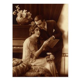 Música del vintage, amor y amantes románticos del  tarjetas postales