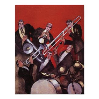 Música del vintage, atasco musical de la banda de invitación 10,8 x 13,9 cm