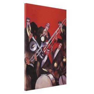 Música del vintage, atasco musical de la banda de impresión de lienzo