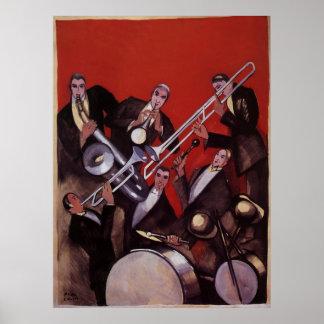 Música del vintage, atasco musical de la banda de  poster