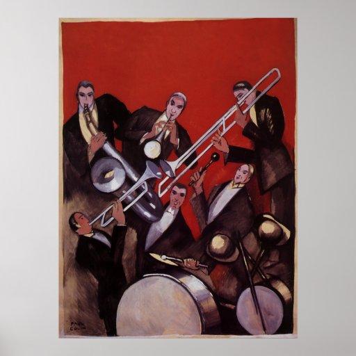 Música del vintage, atasco musical de la banda de póster