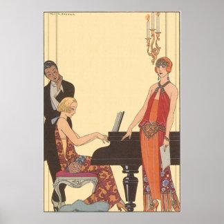 Música del vintage cantante del músico del pianis poster