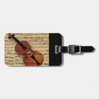 Música del vintage del violín etiquetas maletas