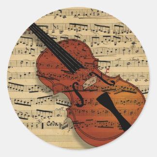 Música del vintage del violín pegatina redonda