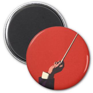 Música del vintage, la mano del conductor que imán redondo 5 cm
