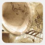 Música del vintage colcomanias cuadradas personalizadas