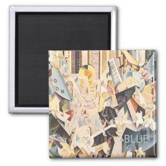 Música del vintage, rapsodia en jazz azul del art imán cuadrado