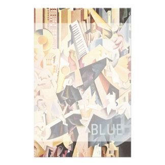 Música del vintage, rapsodia en jazz azul del art  papeleria