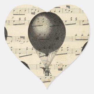 Música del vintage y globos antiguos del aire pegatina en forma de corazón
