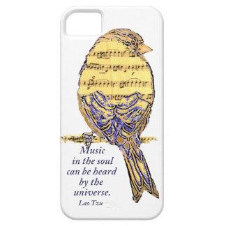 Música en el pájaro de la nota de la cita y de la iPhone 5 carcasa