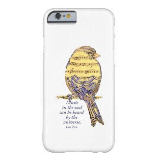 Música en el pájaro de la nota de la cita y de la funda barely there iPhone 6