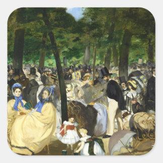Música en el Tuileries de Eduardo Manet Pegatinas Cuadradases
