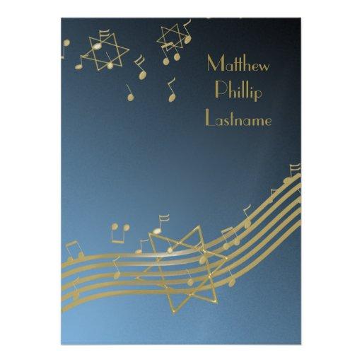 Música en la barra Mitzvah 7,5 del aire Invitación
