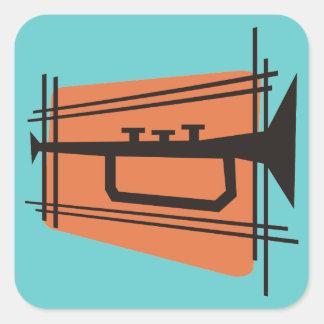 Música en latón calcomanias cuadradas