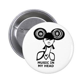 Música en mi cabeza pin redondo de 2 pulgadas