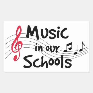 Música en nuestras escuelas pegatina rectangular