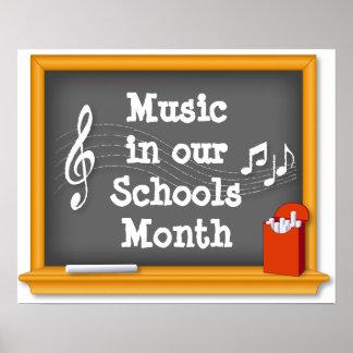 Música en nuestro mes de las escuelas póster