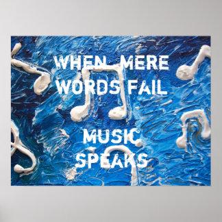 Música en poster azul