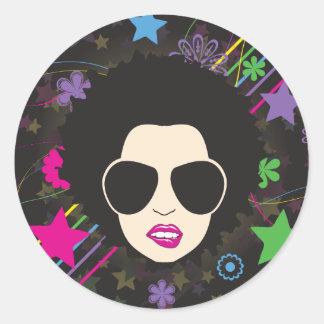 Música enrrollada de los años 80 80s de la reina pegatina redonda