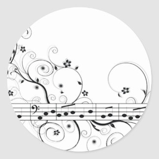 Música florida pegatina redonda