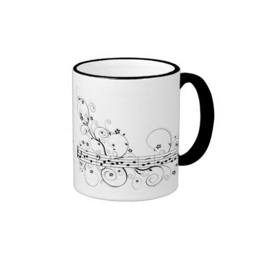 Música florida taza de café