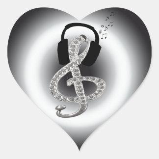 Música Gclef con las auriculares Pegatina En Forma De Corazón