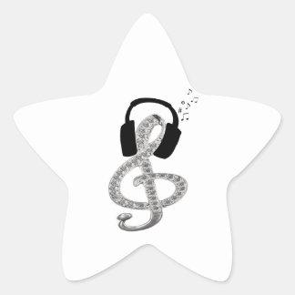 Música Gclef con las auriculares Pegatina En Forma De Estrella