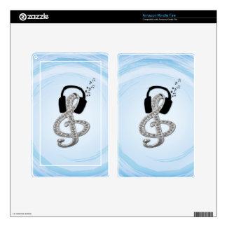 Música Gclef con las auriculares Pegatinas Skins Para Kindle Fire