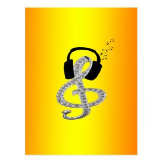 Música Gclef con las auriculares Tarjetas Postales