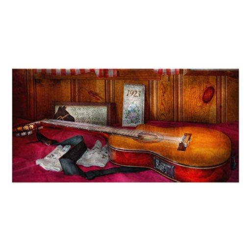 Música - guitarra - que sensación del país viejo tarjeta fotografica personalizada