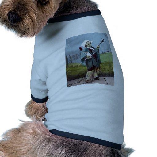 Música japonesa del banjo del vintage de Shamisen  Camiseta Con Mangas Para Perro