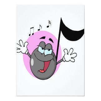 """música linda del canto personaje de dibujos invitación 6.5"""" x 8.75"""""""