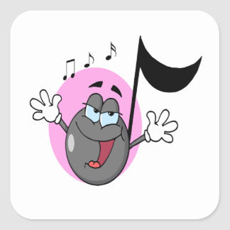 música linda del canto personaje de dibujos calcomanías cuadradass