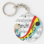 Música notas colores llavero redondo tipo pin